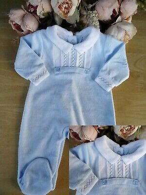 £12.95 • Buy Spanish Style Velour Baby Boy Blue Smocked Embroidered All In One Romper 0-3-6m