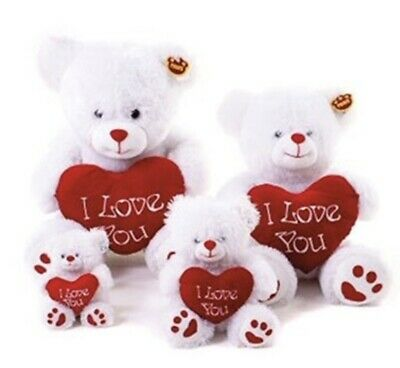 I Love You Plush White Teddy Bear With Red Heart Valentine Gift Anniversary • 10.95£