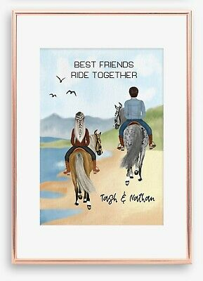 AU19.99 • Buy A4 Love Couple BFF Horse Wall Print/Sign Unique Gift Custom Valentines Day