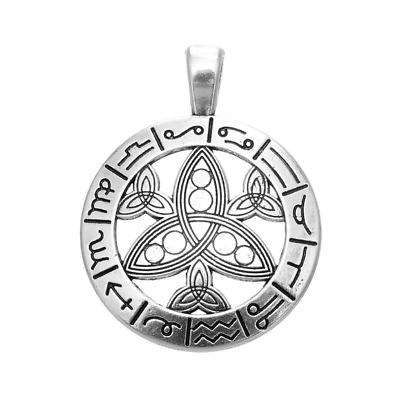 Large Silver Tone Zodiac Symbol Star Signs Pendant For Necklace Astrology • 4.50£
