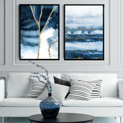 Navy Blue Gold Abstract Wall Art Set Watercolour Painting Print Geode Decor  • 16.99£