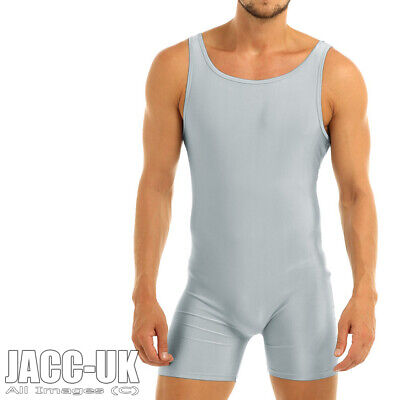 NEW XL To XXL Mens Shiny Silver Bodysuit Lycra Wrestling Leotard Unitard Run.841 • 17.50£