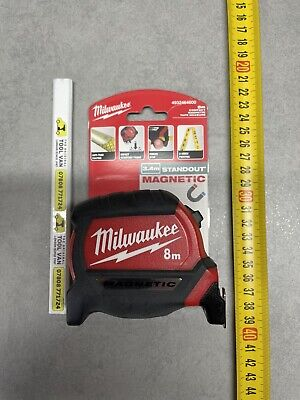 Milwaukee 8m Tape Mag Pro Tape Measure - Metric Only Free Pencil • 18.99£