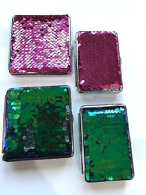 KING SIZE Cigarette Case With SPARKLE SEQUIN 2 SIZES Holds 14-20 CIGARETTES • 5.75£