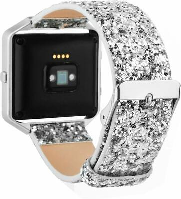 $ CDN26.01 • Buy Leather Flash Glitter Bling Replacement Band Strap For Fitbit Blaze Smart Watch