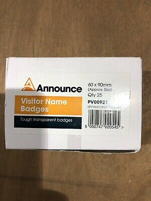 Announce Visitor Name Badges 60 X 90 Pack Of 25 PV00921 • 25£