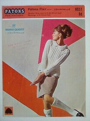 Patons - Mary Quant - Sweater With Crochet Collar & Knee Socks -Knitting Pattern • 3.50£
