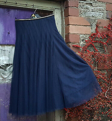 Bohemia Of Sweden Long A Line Navy Double Layer Net Skirt Lined Elastic Waist • 35£