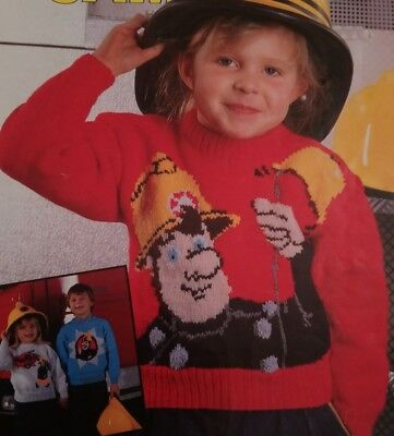 Knitting Pattern Fireman Sam Jumpers Sweaters In Double Crepe 22 - 28  • 2.40£