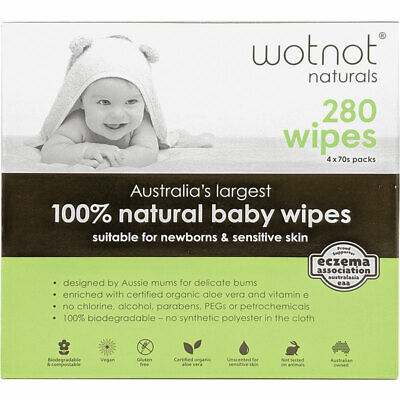 AU21.99 • Buy Wotnot All Natural Baby Wipes 4x70 Pack