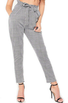 £11.95 • Buy Ladies Dogtooth Print Trousers Tie Waist Check Paper Bag Style Cigarette  Pant