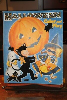 $ CDN42.31 • Buy Vintage Whitman 1954 HALLOWEEN COLOR And PLAY COLORING BOOK FLOCKED Cover