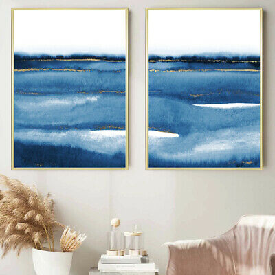 Blue Gold Abstract Wall Art Set Watercolour Painting Print Poster Decor A4 - A1 • 13.99£