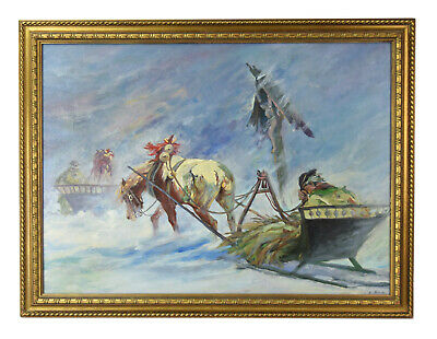 $295 • Buy Russian Oil Painting Weary Horse Drawn Sleigh Passing Wayside Crucifix Altar