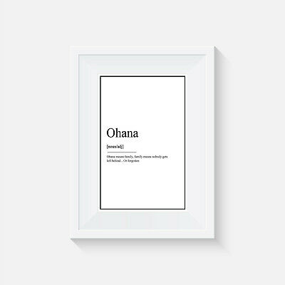 Lilo And Stitch Definition, Print, Ohana Means Family, Quote, Wall Art, Disney • 6.12£