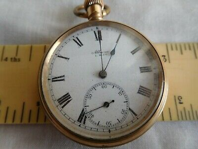 Vintage Pocket Watch Albana U.W.Co Gold Plated Circa 1920s 1904 Pat Movement • 13£