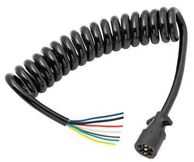 $ CDN51.47 • Buy Coiled 7-Way RV Round Tow Plug Harness W/ 6 Ft Cable Molded Trailer Connector