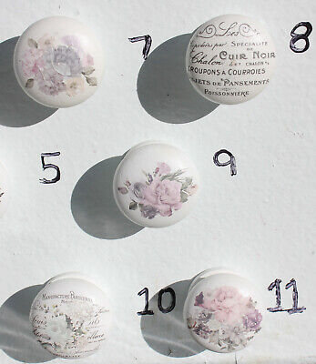 $4 • Buy Farmhouse French Floral Furniture Wooden Knobs, White, 1-1/2  Knobs, Variety