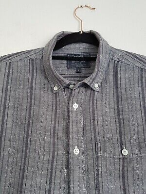 Atlantic Bay Grey Striped Short Sleeve Shirt  Cotton Linen Blend Size Large  • 5.50£