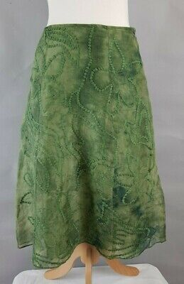 Per Una Green Batic Silk Sheer Embroidered A-Line Skirt UK 8 R Quirky Ethnic • 17.94£