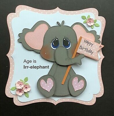 A Large Handmade Birthday  Card Topper Of A Cheeky Elephant With A Banner   1 • 1.99£