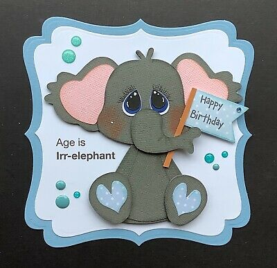A Large Handmade Birthday  Card Topper Of A Cheeky Elephant With A Banner   2 • 1.99£