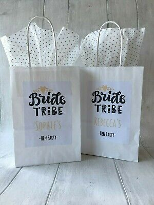 Personalised White Hen Party Favour, Goodie Bag, With Tissue Paper Bride Tribe • 1.19£