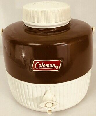 $10 • Buy Vintage Coleman Brown White  Gallon Drink Picnic Jug Cooler Water Dispenser