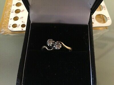 Stunning18ct Gold Diamond 2 Stone Crossover Ring Nice Condition 0.5 Ct Total.? • 22£