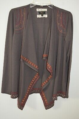 $ CDN26.50 • Buy Anthropologie Cupio Brown Embroidered Open Cardigan Sweater Size S