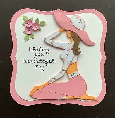 A Handmade Birthday Card Topper Of A Modern Young Lady In Cropped Jeans  4 • 1.99£