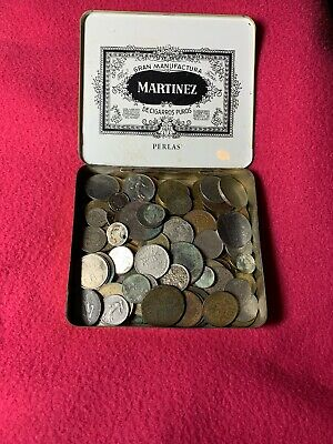 Old Tin Found In Loft World-British-Foreign-Uk Silver Coins  Tokens Unsorted • 2.20£
