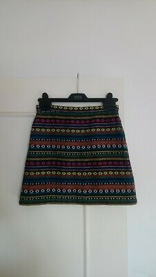 Topshop Lined Aline Mini Skirt Boho Ethnic Stripey 8 Small  • 0.99£
