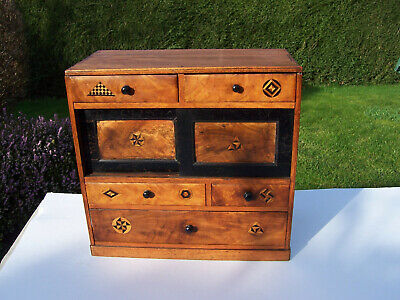 Antique Miniature Japanese Marquetry Tansu Cabinet, Jewellery/Collectors Chest • 149£