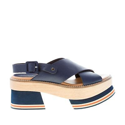 $ CDN229.84 • Buy PALOMA BARCELO' Women Shoes Blue Navy Leather Chinami Sandal With Platform