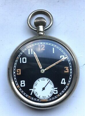 WWII Black Faced Military GSTP Pocket Watch - RECORD C433 MOVEMENT Working • 25£