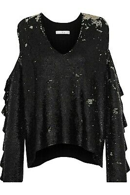 $ CDN131 • Buy IRO Paris Sequin Cold Shoulder V Neck  Top Ruffled Sleeves Black Sz M/L  RHOBH