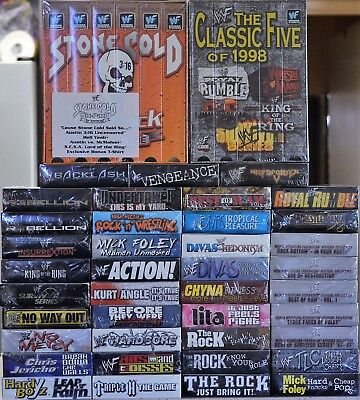 $ CDN374.93 • Buy Lot Of 49 WWE WWF WCW New Wrestling VHS Video Tapes + Stone Cold Six Pack Tshirt