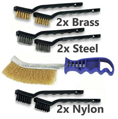 7x WIRE BRUSH SET Steel Brass Nylon Metal Rust Paint Remover Long Cleaner • 4.89£