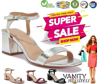 Womens Ladies Low Block Heel Sandals Ankle Strap Office Work Smart Shoes Size • 9.99£