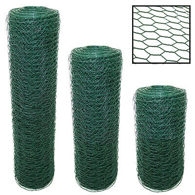 PVC COATED CHICKEN WIRE MESH FENCING WIRING AVIARY 25M/50M 25mm/50mm GREEN ROLLS • 34.99£