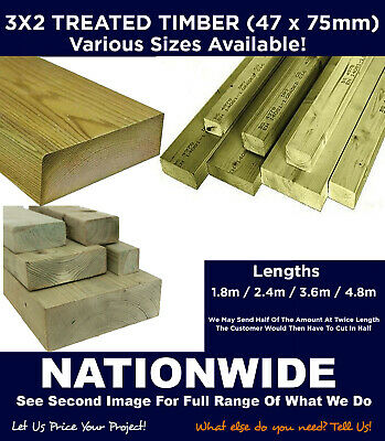 Timber Treated 3x2 - Various Lengths C16/C24 • 114.40£