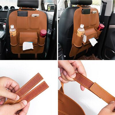 $14.68 • Buy Auto Car Seat Back Multi-Pocket Storage Bag Organizer Holder Accessory Brown