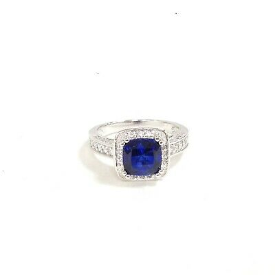 $33.24 • Buy Charles Winston CWE Sterling Silver Synthetic Blue Sapphire & CZ Ring Size 8