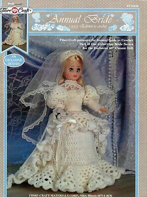 ~ Fibre Craft Crochet Pattern For Doll's Wedding Dress ~ To Fit 15  Doll ~ • 1.85£