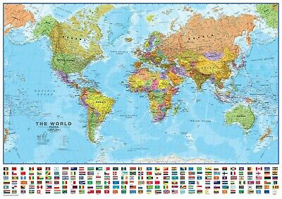 AU19.95 • Buy Large Map Of The World Poster Print Choose Your Size Unframed.