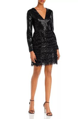$29.99 • Buy Aidan By Aidan Mattox Sequined & Fringed Cocktail Dress $195 Size 4 # 20B 130 Bl
