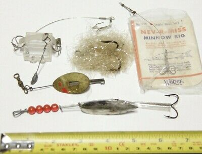 $ CDN7 • Buy Vintage Assorted Lot Of 5 FISHING Lures, Hooks, Spoons, Minnow Rig