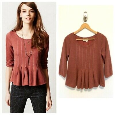 $ CDN6 • Buy Anthropologie Saturday Sunday Heather Rust Red Peplum Top Sweatshirt Boho Small