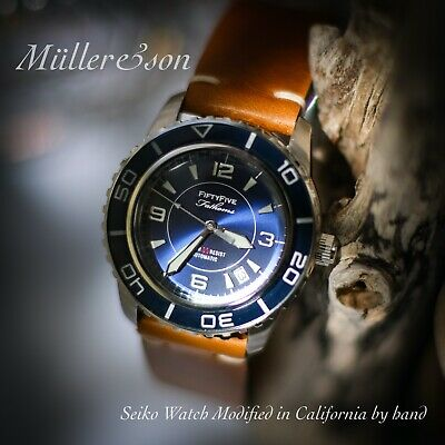 $ CDN551.29 • Buy Müller&Son Watch  Blue Mod 1  From Seiko SNZH Fifty Five Fathoms + Horween Strap